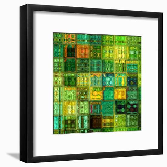 Art Abstract Vibrant Geometric Pattern, Background In Green, Gold And Blue Colors-Irina QQQ-Framed Art Print