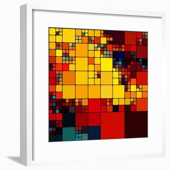 Art Abstract Vibrant Rainbow Geometric Pattern Background-Irina QQQ-Framed Premium Giclee Print