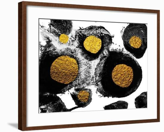 Art and Gold. Natural Luxury. Black Paint Stroke Texture on White Paper. Abstract Hand Painted Gold-CARACOLLA-Framed Art Print
