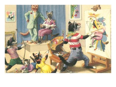 Art Class for Cats--Art Print