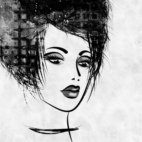 Art Colorful Sketched Beautiful Girl Face In Profile With Black Hair On White Background-Irina QQQ-Art Print