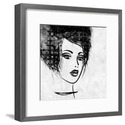 Art Colorful Sketched Beautiful Girl Face In Profile With Black Hair On White Background-Irina QQQ-Framed Art Print