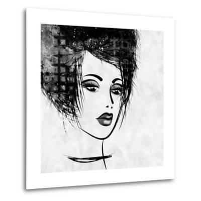 Art Colorful Sketched Beautiful Girl Face In Profile With Black Hair On White Background-Irina QQQ-Metal Print