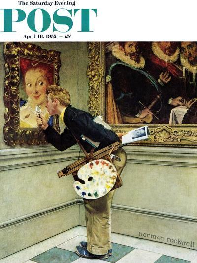 """Art Critic"" Saturday Evening Post Cover, April 16,1955-Norman Rockwell-Giclee Print"