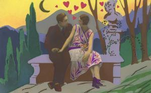 Art Deco Couple with Hearts