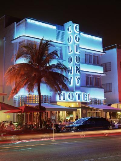 Art Deco District at Dusk, Ocean Drive, Miami Beach, Miami, Florida, United States of America-Gavin Hellier-Photographic Print