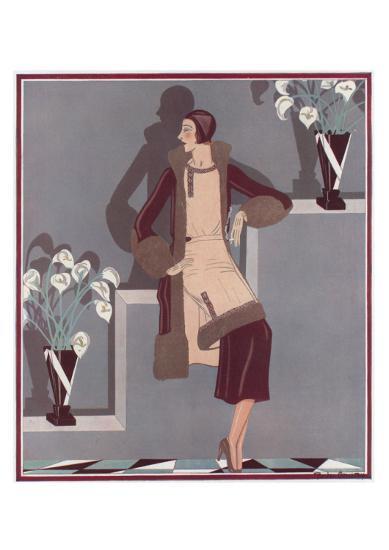 Art Deco Female and Flowers--Art Print