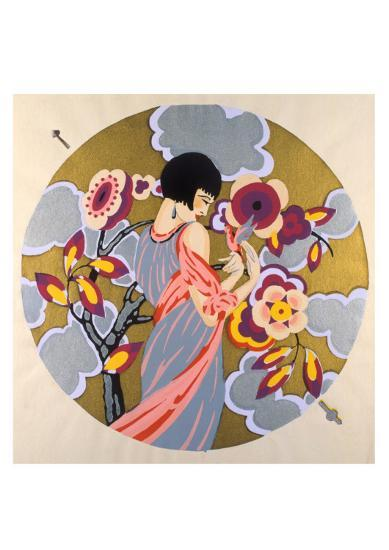 Art Deco Female in a Circle--Art Print