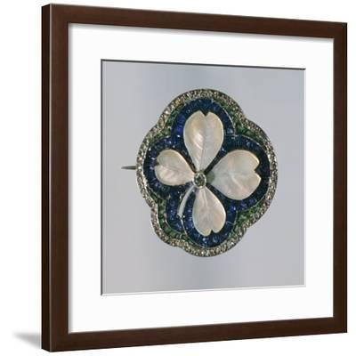 Art Deco Four-Leaf Clover Shaped Mother-Of-Pearl Brooch Set with Sapphires, Emeralds and Diamonds--Framed Giclee Print