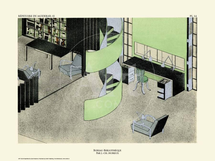 Art Deco French Interior Design Illustrations Art Print By Artcom