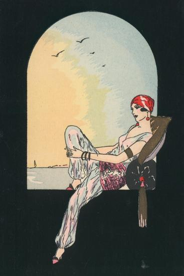 Art Deco Image of a Woman Reclining in a Window Seat--Giclee Print