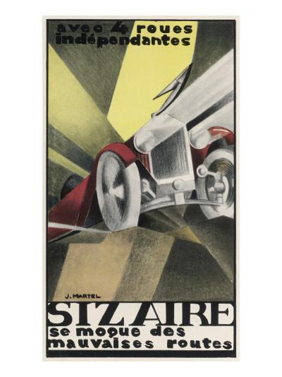 Art Deco Inspired Poster for the Sizaire Car with its Headlamps Blazing--Giclee Print