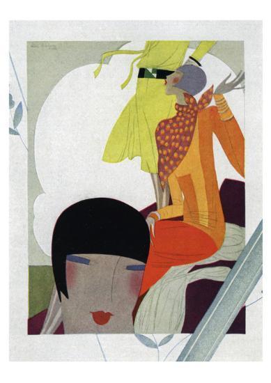 Art Deco Ladies Talking--Giclee Print