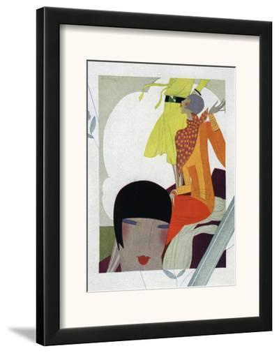 Art Deco Ladies Talking--Framed Art Print