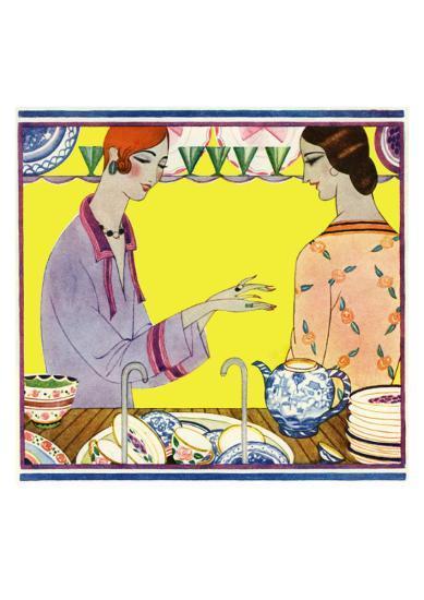 Art Deco Ladies Washing Up--Art Print