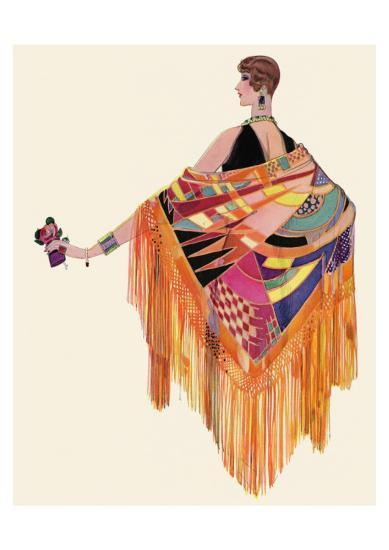 Art Deco Lady in a Colourful Dress--Giclee Print