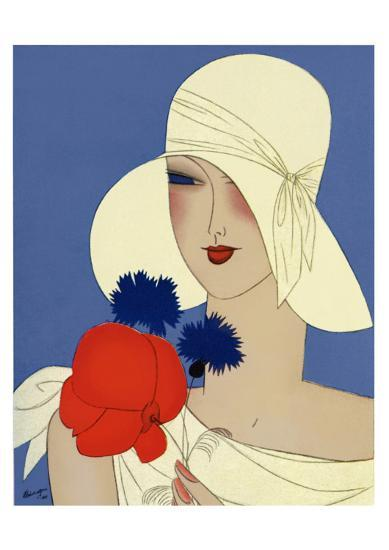 Art Deco Lady with a Large Red Flower--Giclee Print