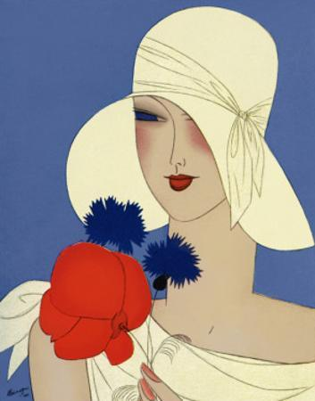 Art Deco Lady with a Large Red Flower