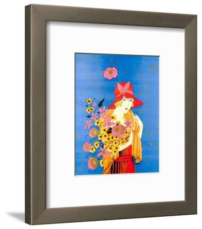 Art Deco Lady with Flowers