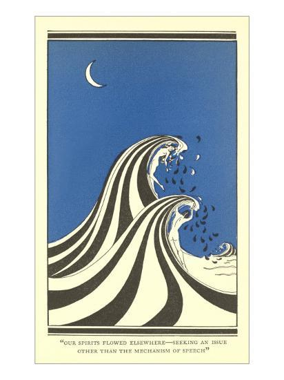 Art Deco Lovers in Waves--Art Print