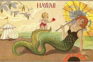 Art Deco Mermaid on Beach