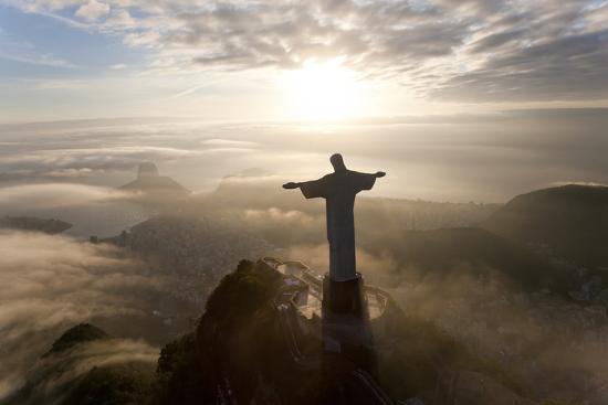 Art Deco Statue of Jesus,On Corcovado Mountain, Rio de Janeiro, Brazil-Peter Adams-Photographic Print