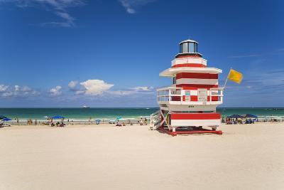 Art Deco Style Lifeguard Hut on South Beach, Ocean Drive, Miami Beach, Miami, Florida, U.S.A.-Gavin Hellier-Photographic Print