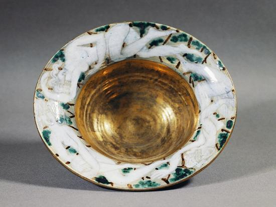 Art Deco Style Majolica Cup with Golden Interior and Female Figures Decoration, France--Giclee Print