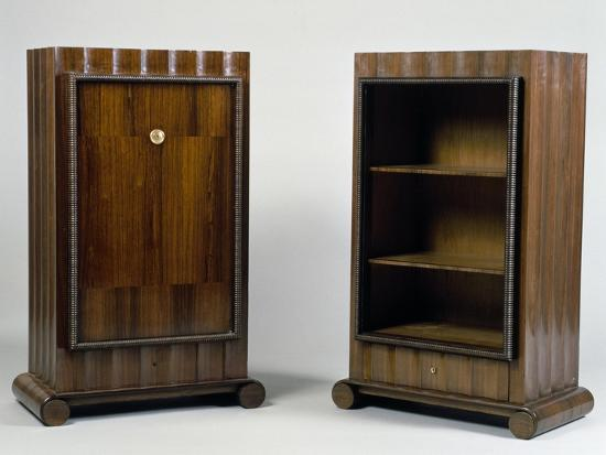 Art Deco Style Mini Bar and Bookcase, Stelcavgo Model, 1928 and 1927-Jacques-emile Ruhlmann-Giclee Print