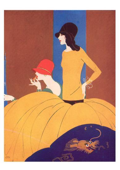 Art Deco Two Women Doing Make Up.--Giclee Print