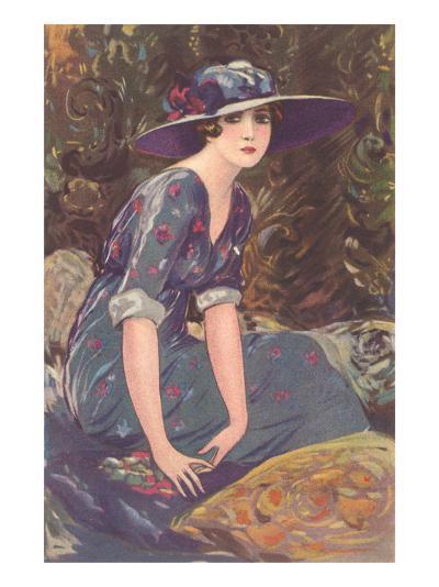 Art Deco Woman in Hat--Art Print