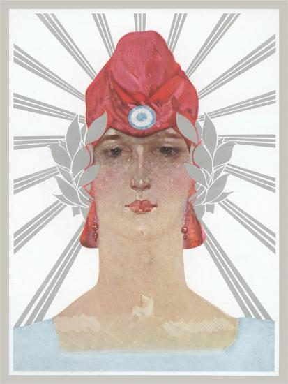 Art Deco Woman with Laurel Wreath and Red Hat--Art Print
