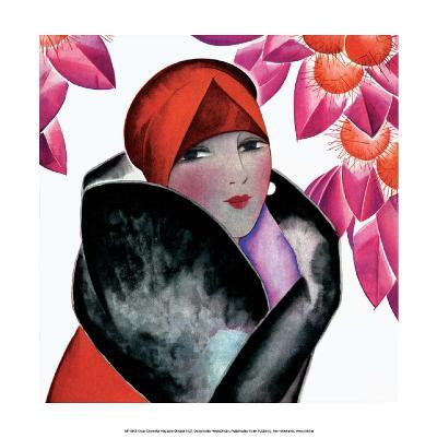 Art Deco Woman with Red Hat and Furs-Helen Dryden-Art Print