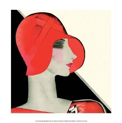 Art Deco Woman with Red Hat-Helen Dryden-Art Print
