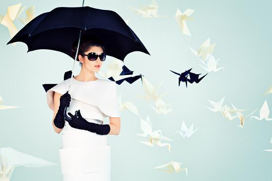 Art Fashion Photo of a Gorgeous Woman in Paper Dress-prometeus-Photographic Print