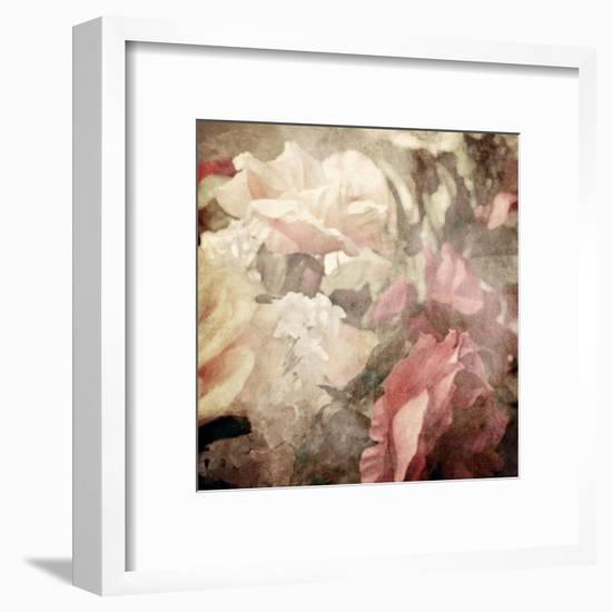 Art Floral Vintage Sepia Blurred Background with White and Pink Roses-Irina QQQ-Framed Art Print