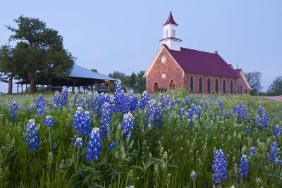 Art Methodist Church and Bluebonnets Near Mason, Texas, USA-Larry Ditto-Photographic Print