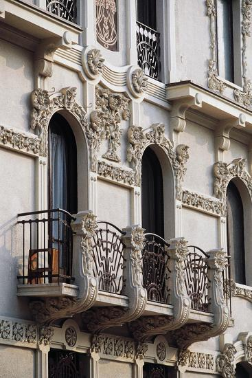 Art Nouveau Balcony of House in Piffetti 10 Bis Street, Turin, Piedmont, Italy--Giclee Print