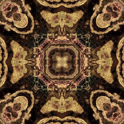 Art Nouveau Geometric Ornamental Vintage Pattern in Beige and Brown Colors-Irina QQQ-Art Print