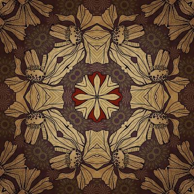 Art Nouveau Geometric Ornamental Vintage Pattern in Beige, Violet and Brown Colors-Irina QQQ-Art Print