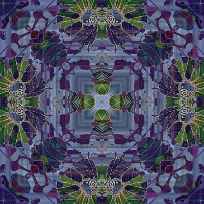 Art Nouveau Geometric Ornamental Vintage Pattern in Violet and Green Colors-Irina QQQ-Art Print
