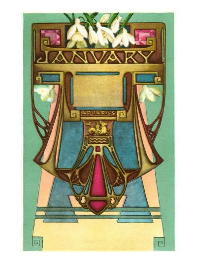 Art Nouveau January, Aquarius--Art Print