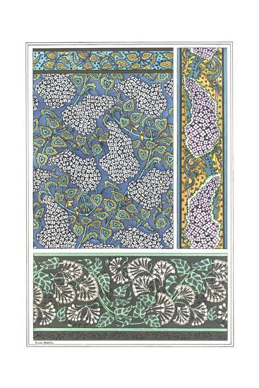 Art Nouveau Lilac Patterns and Floral Border--Art Print