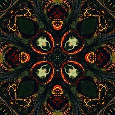 Art Nouveau Ornamental Vintage Pattern in Green and Red Colors-Irina QQQ-Art Print