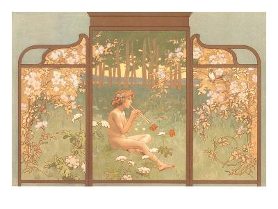 Art Nouveau Screen with Faun Playing Pipes--Art Print