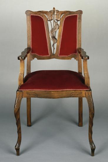 Art Nouveau Style Armchair, Carved Walnut, Italy--Giclee Print