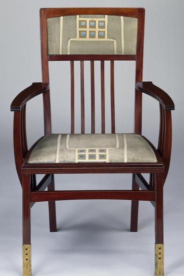 Art Nouveau Style Armchair, Part of Set Designed for Hall-Gustave Serrurier-Bovy-Giclee Print