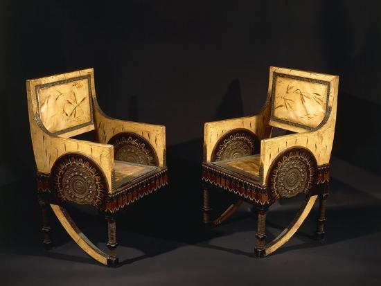 Art Nouveau Style Armchairs, Ca 1902-Carlo Bugatti-Giclee Print