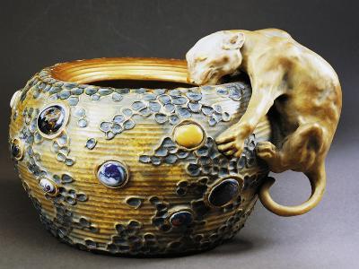 Art Nouveau Style Cachepot with Decoration of Feline--Giclee Print