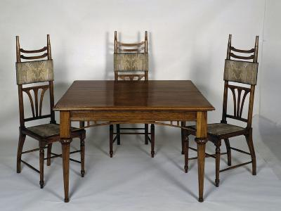 Art Nouveau Style Dining Room Table and Chairs, 1902-Carlo Zen-Giclee Print